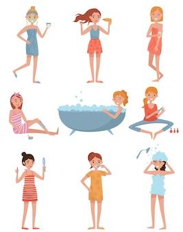 Młode kobiety dbające o siebie zestaw, dziewczyna nakładająca maskę, susząca włosy, przeprowadzająca depilację woskiem i manicure, biorąca ilustracje kąpielowe na białym tle