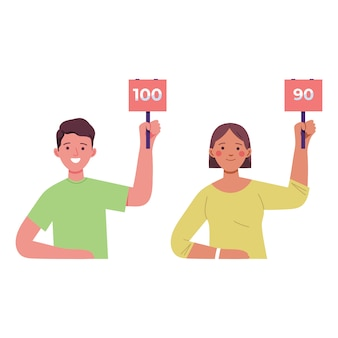 Młode kobiety i mężczyźni trzymają tablicę wyników