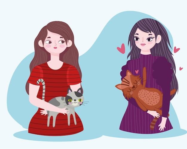 Młode kobiety postacie z kotami zwierząt domowych ilustracja kreskówka