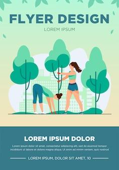 Młode kobiety rosnące drzewa w parku miejskim. ilustracja wektorowa płaski zielony, roślin, środowiska. pojęcie ekologii i miejskiego stylu życia