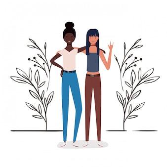 Młode kobiety stoi z krajobrazową ilustracją