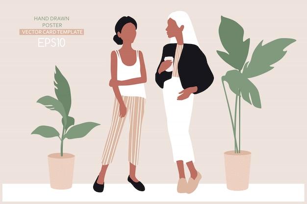 Młode kobiety ubrane w modne ubrania