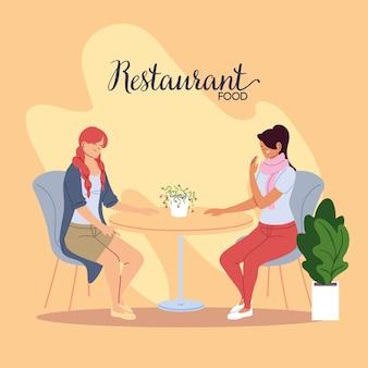 Młode kobiety uśmiechając się i rozmawiając w pięknym projekcie ilustracji restauracji