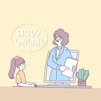 Młode kobiety używają laptopa na żywo do nauczania książek