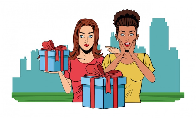 Młode kobiety z pop-artem w pudełku prezentowym