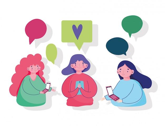Młode kobiety za pomocą smartfona czatować sms miłość