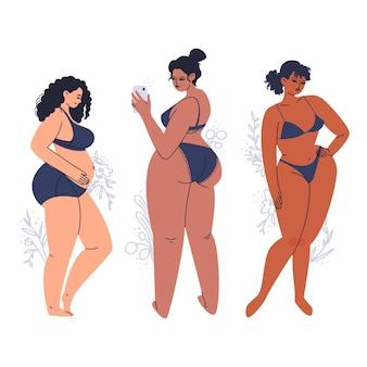 Młode opalone kobiety pozowanie w bieliźnie. różnorodne, pełnowymiarowe dorosłe dziewczyny w ciemnych kostiumach kąpielowych. ręcznie rysowana brunetka plus size.