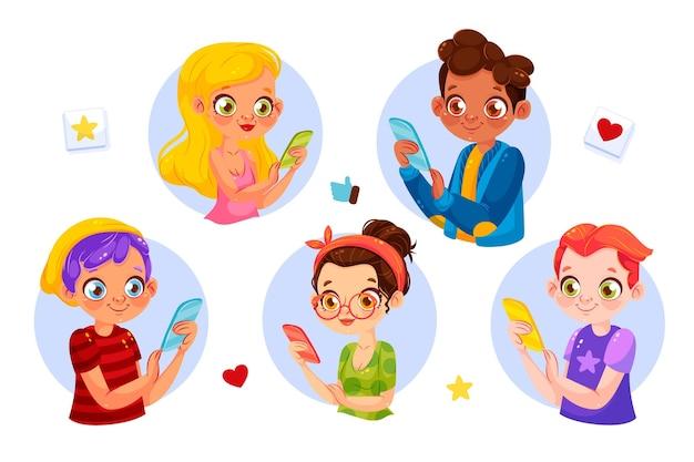 Młode osoby uzależnione korzystające ze smartfonów
