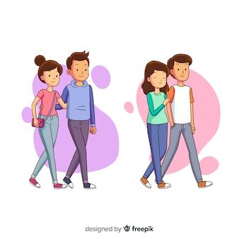 Młode pary idące razem