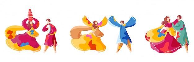 Młode pary indyjskie bawiące się kolorami. postacie.