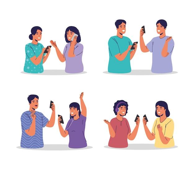 Młode pary korzystające z technologii smartfonów