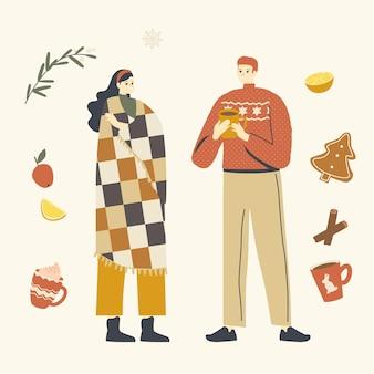 Młode postacie męskie i żeńskie w ciepłych ubraniach delektują się zimowymi napojami