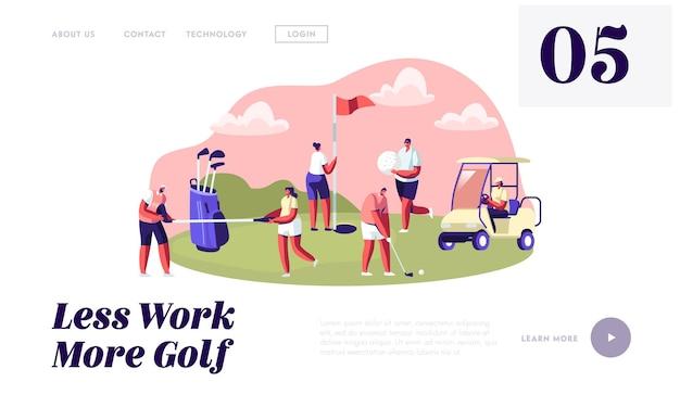 Młode postacie ze sprzętem do golfa i wózkiem, szczęśliwi ludzie wypoczywający na polu golfowym, sport, zabawa na świeżym powietrzu, strona docelowa witryny zdrowego stylu życia, strona internetowa. do