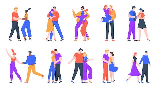 Młode romantyczne pary w miłości. szczęśliwy chłopak i dziewczyna na romantyczną randkę. tańcząc, robiąc selfie i decydując się na zestaw ilustracji małżeństw