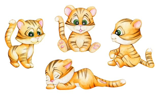 Młode tygrysy, w stylu kreskówki, na na białym tle. akwarela zestaw zwierząt.