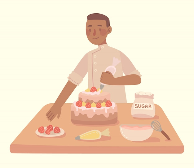 Młodego człowieka kucharstwo przy kuchennym domowej roboty tortem zz domem. nowoczesna ilustracja w stylu płaski.