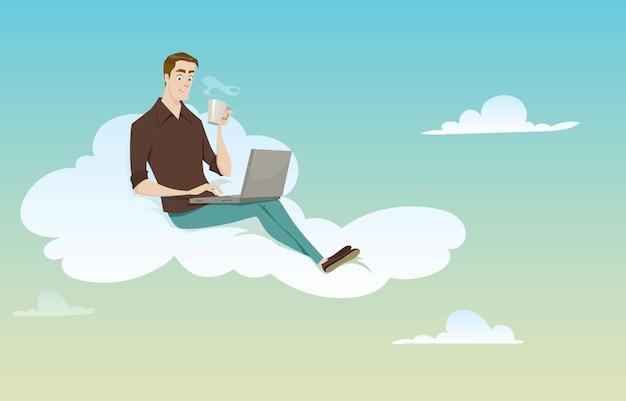 Młodego człowieka obsiadanie na chmurze używać jego komputer na pogodnej pogodzie w kawowej przerwie.