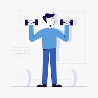 Młodego człowieka trening przy gym.