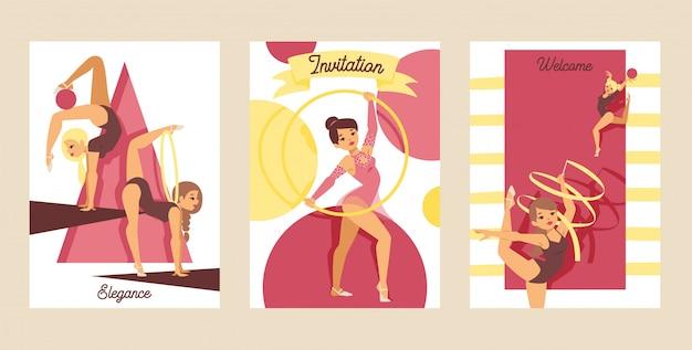 Młodej dziewczyny gimnastyczki ćwiczenia sporta atlety ilustracja