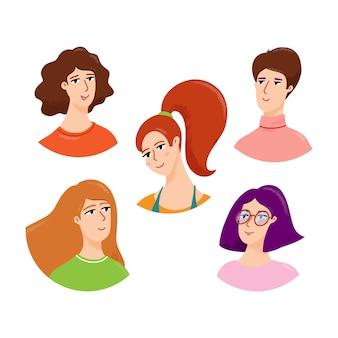 Młodej kobiety avatar, portreta set, wektorowa ilustracja odizolowywająca na bielu