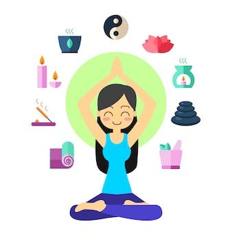 Młodej kobiety ćwiczy joga w lotos pozie.