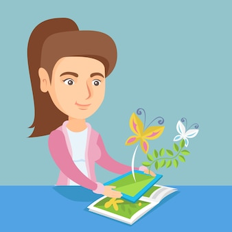 Młodej kobiety mienia pastylki komputer nad książka