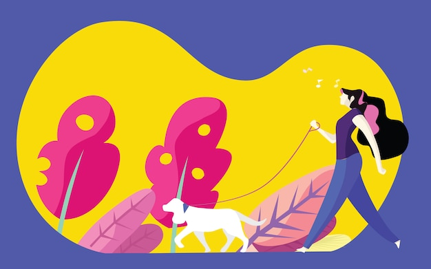 Młodej kobiety odprowadzenia pies w parku