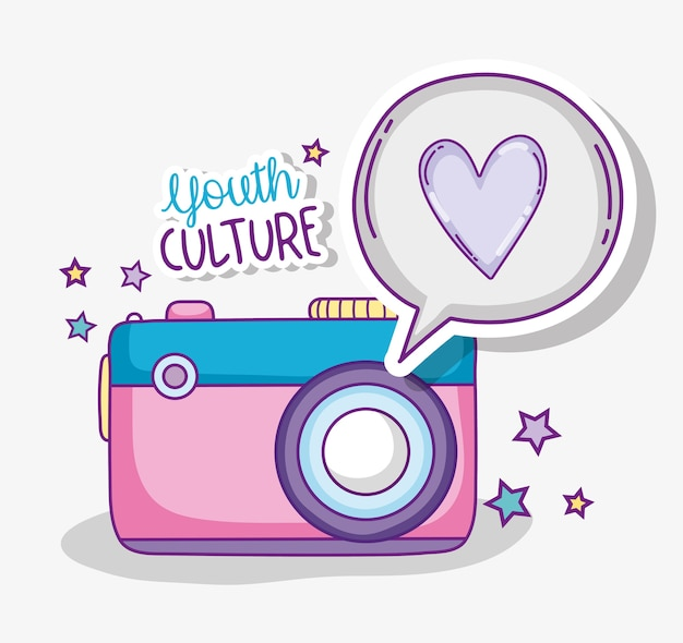 Młodość kultury rocznika kreskówki śliczne kamery wektorowy ilustracyjny graficzny projekt