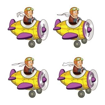 Młodszy pilot latający samolot animowany sprite