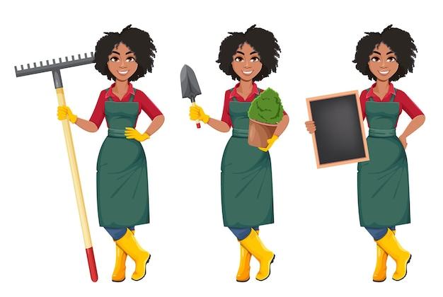 Młody african american kobieta ogrodnik, zestaw trzech pozach