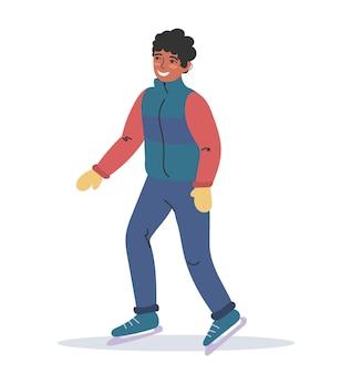 Młody afroamerykanin jeździ na łyżwach w ciepłych zimowych ubraniach. sporty zimowe. płaska kolorowa ilustracja