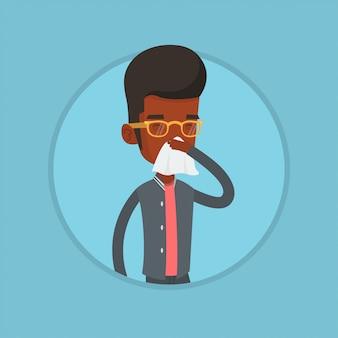 Młody afroamerykański chory mężczyzna kichanie.