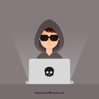 Młody Anonimowy Hacker Z Płaskim Projektem Darmowych Wektorów