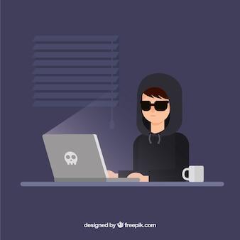 Młody anonimowy hacker z płaskim projektem