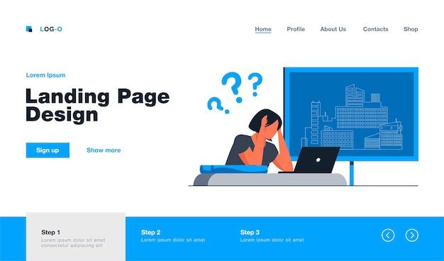 Młody architekt mający problem z budową szablonu landing page'a