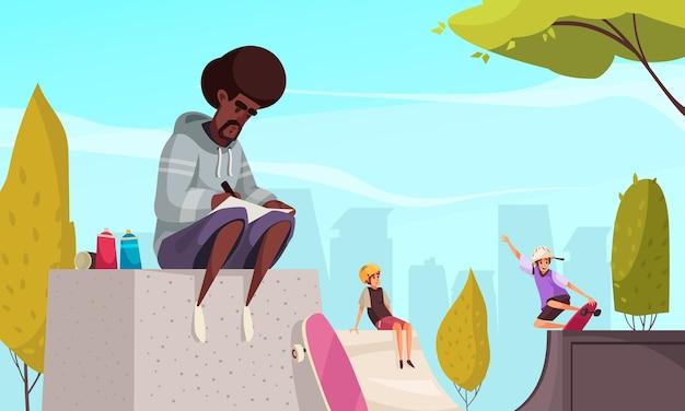 Młody artysta uliczny w bluzie z kapturem, szkicujący projekt graffiti, siedzący na rampie w skateparku