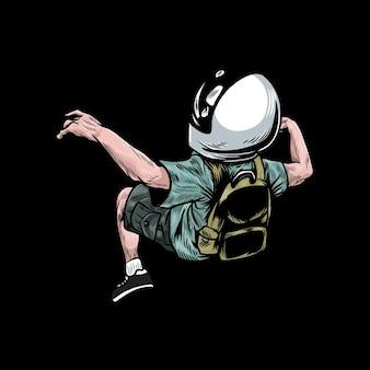 Młody astronauta unoszący się w powietrzu