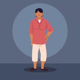 Młody azjatycki facet na sobie ubranie