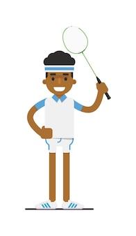 Młody badmintonista czarny człowiek z rakieta