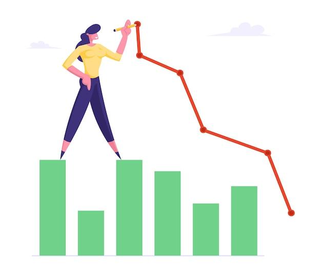 Młody biznes kobieta stanąć na płaskiej ilustracji wykresu kolumnowego