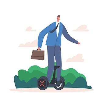 Młody biznesmen charakter w wizytowym jazda w pracy na hoverboard w summertime park. mieszkaniec man city używa elektrycznego, ekologicznego transportu do poruszania się po mieście. ilustracja wektorowa kreskówka ludzie