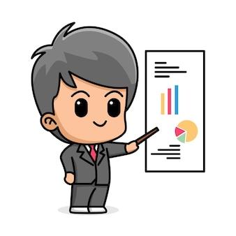 Młody biznesmen pokazując prezentera białej tablicy ilustracja kreskówka