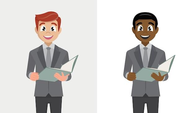 Młody biznesmen posiadający plik. stylowa osoba w garniturze