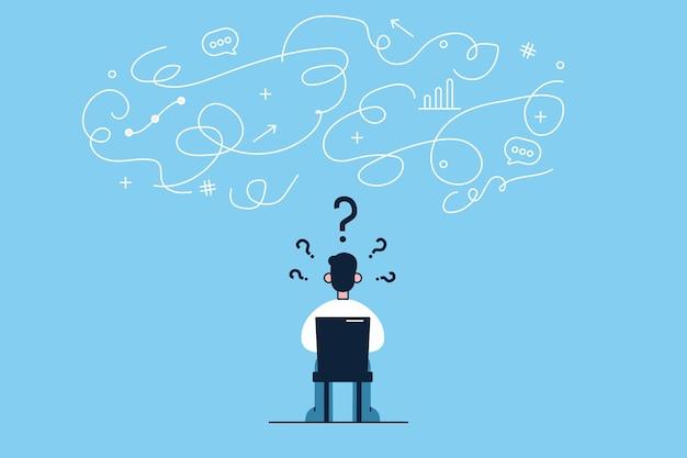 Młody biznesmen postać z kreskówki siedzi tyłem na krześle w biurze i ma innowacyjne myśli w głowie, myśląc o uruchomieniu nowego projektu biznesowego
