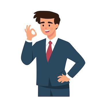 Młody biznesmen powiedział tak gestami palców