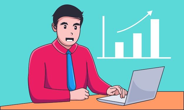 Młody biznesmen pracuje na laptopie z wzrostowym wykresem