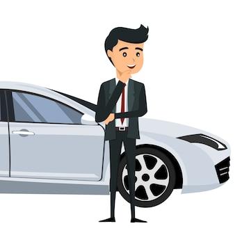 Młody biznesmen przed jego samochodem