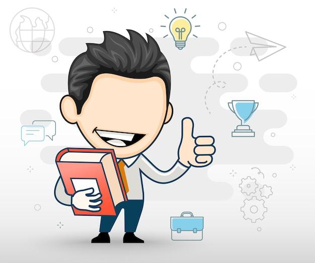 Młody biznesmen trzyma książkę uśmiechniętą szczęśliwą i pozytywną koncepcję płaskiej konstrukcji w stylu kreskówki