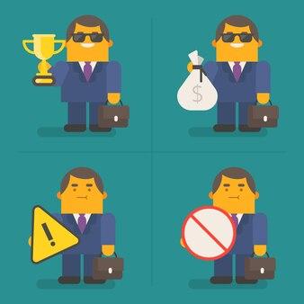 Młody biznesmen trzymający złoty kubek worek na pieniądze i znaki exclusive characters pack