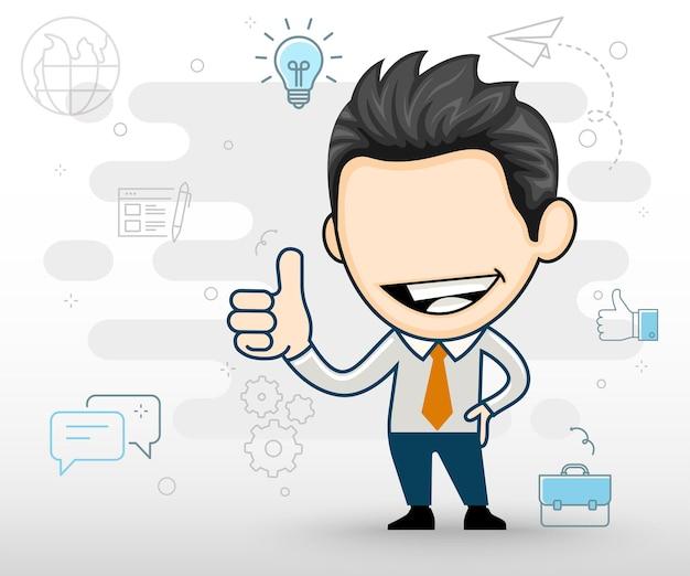 Młody biznesmen uśmiechający się szczęśliwy i gestykulujący kciuk w górę płaska konstrukcja w stylu kreskówki